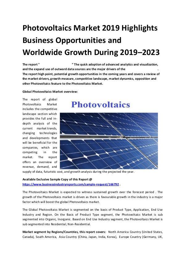 Global Photovoltaics Market Report 2019