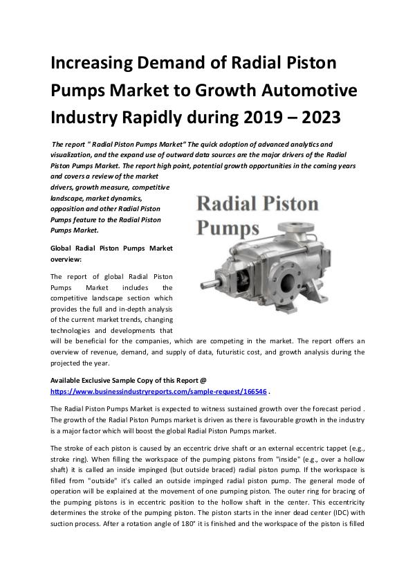 Market Research Reports Global Radial Piston Pumps Market Report 2019