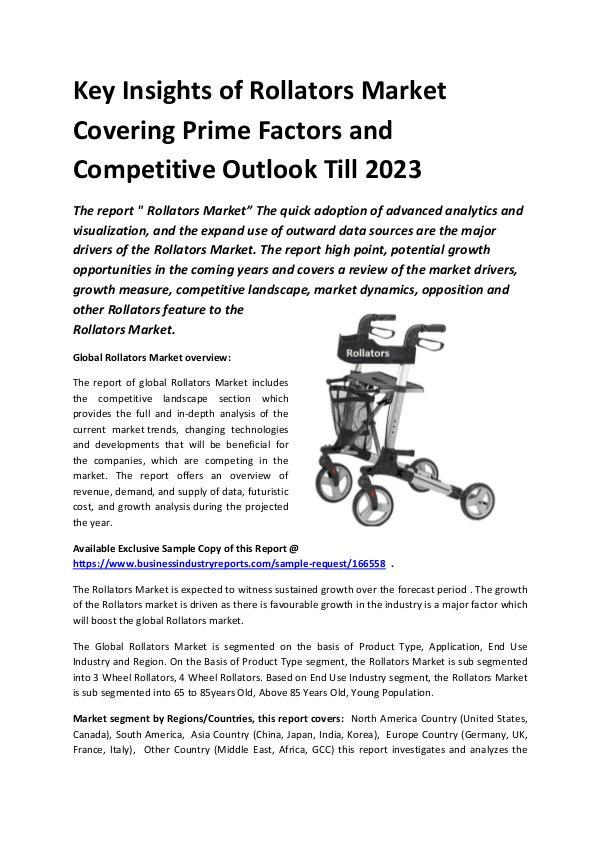 Market Research Reports Global Rollators Market Report 2019