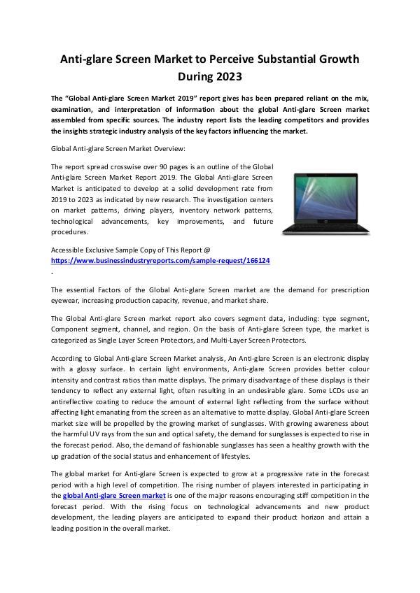 Anti-glare Screen Market 2019-converted