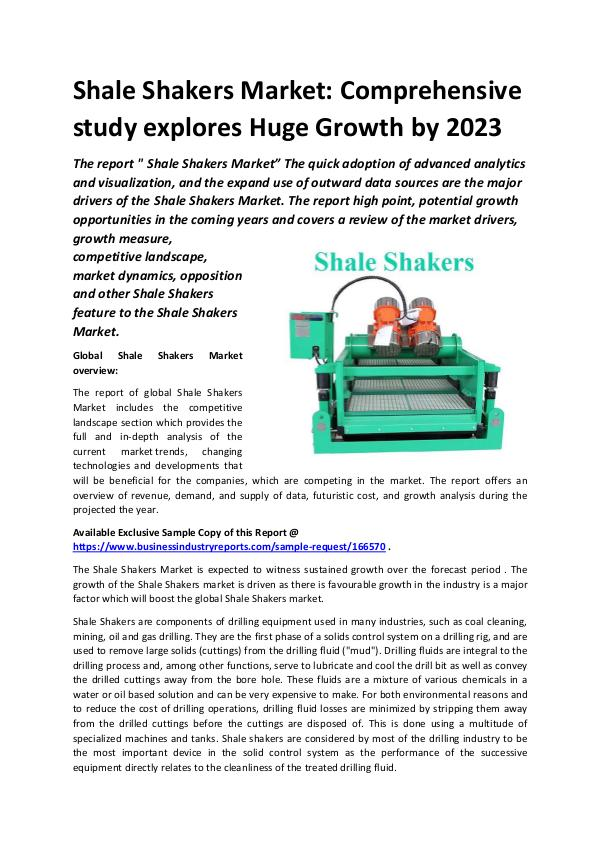 Global Shale Shakers Market Report 2019