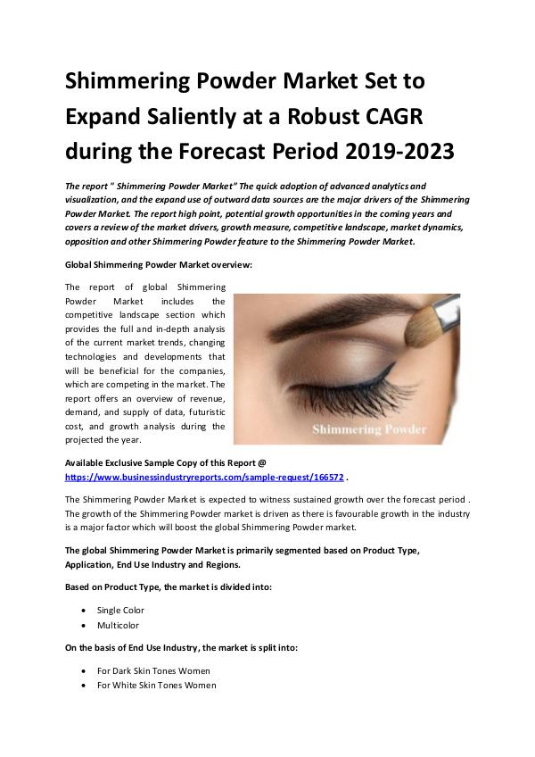 Global Shimmering Powder Market Report 2019