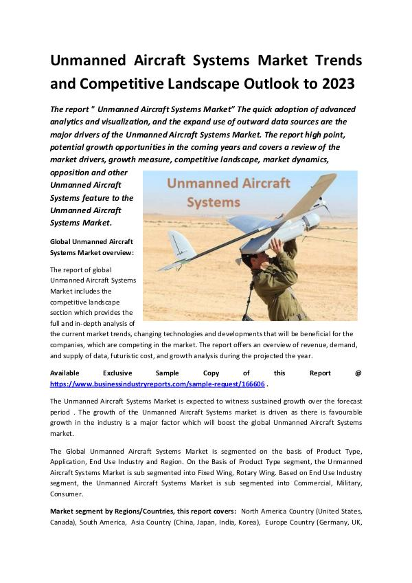 Global Unmanned Aircraft Systems Market Report 201