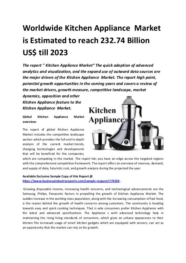 Market Research Reports Global Kitchen Appliance  Market 2018-2023.docx