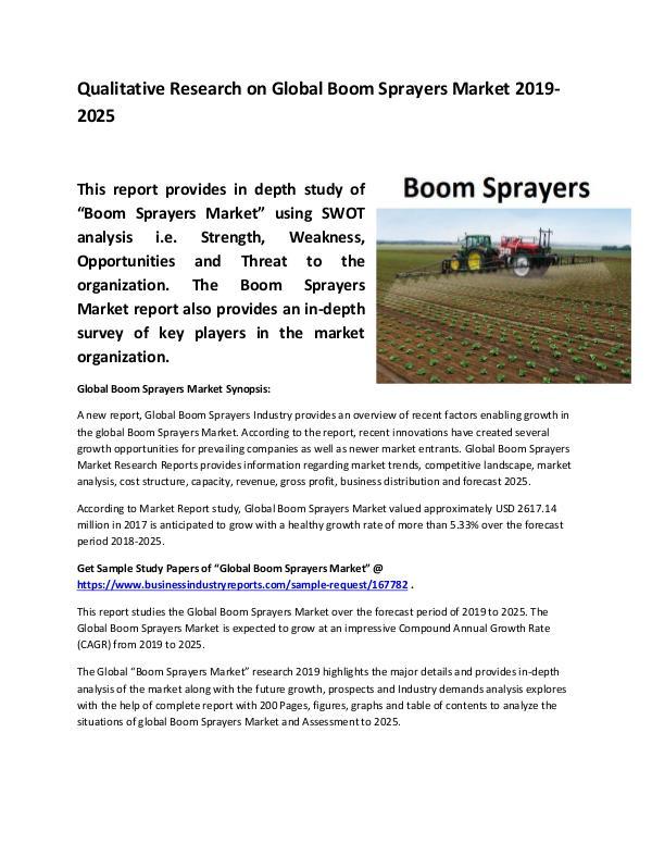 Global Boom Sprayers Market Size study