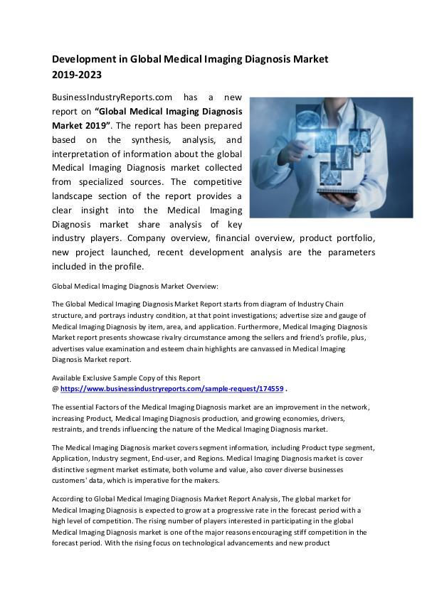 Medical Imaging Diagnosis Market 2019