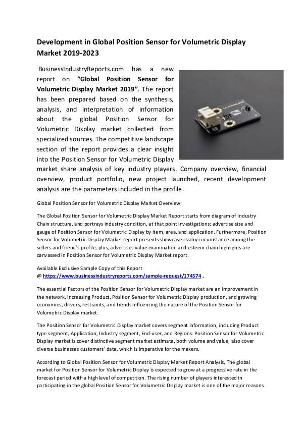 Position Sensor for Volumetric Display Market 2019
