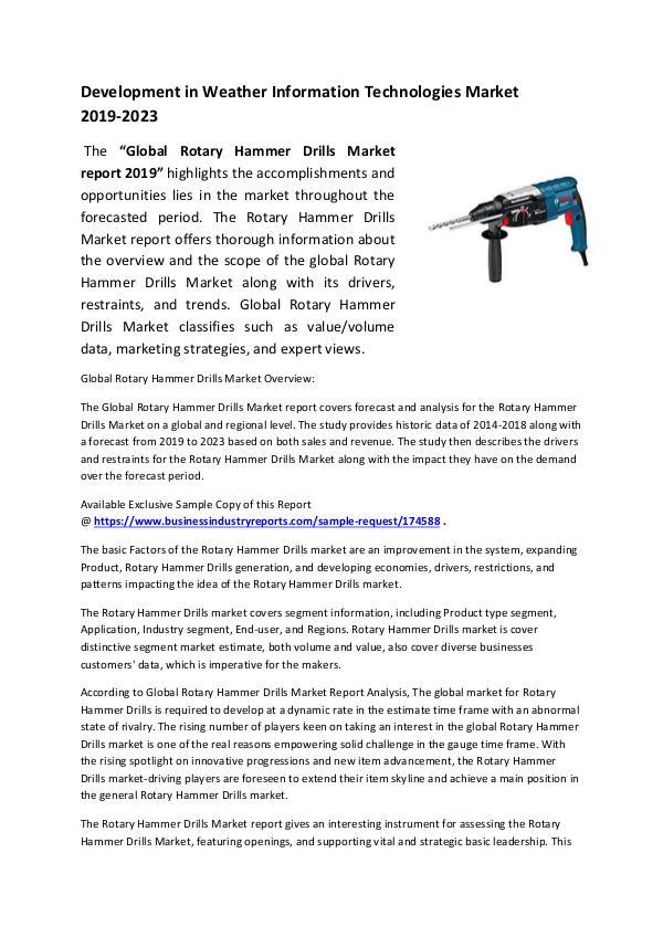 Rotary Hammer Drills Market 2019