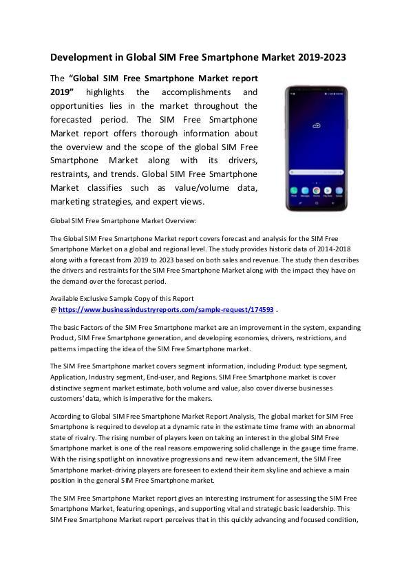 Market Research Reports SIM Free Smartphone Market 2019