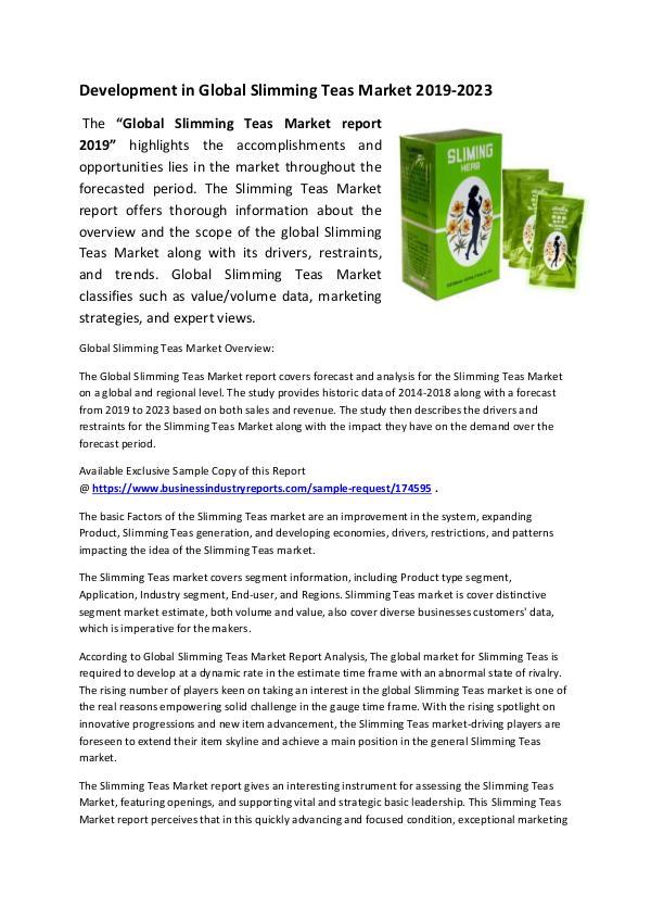 Slimming Teas Market 2019