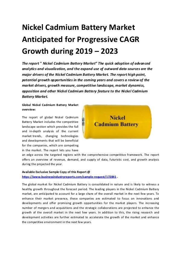 Global Nickel Cadmium Battery Market Report 2019.d