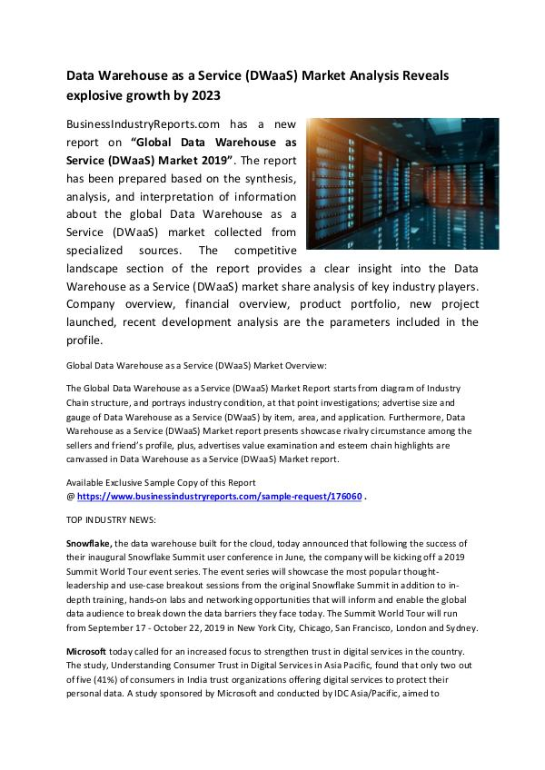 Market Research Reports Data Warehouse as a Service (DWaaS) Market 2019