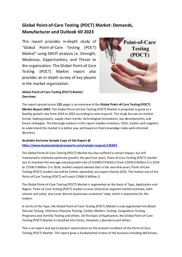 Market Research Reports Global Point-of-Care Testing (POCT) Market Researc