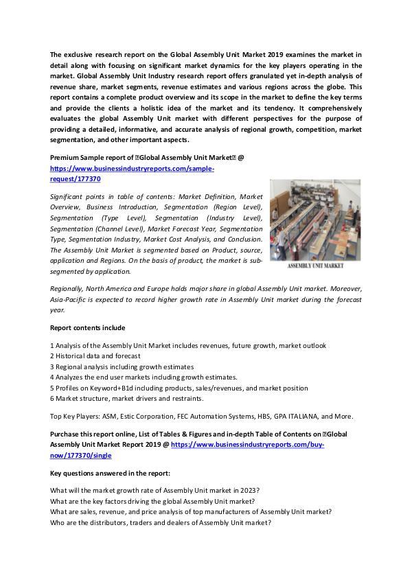 Assembly unit market 2019