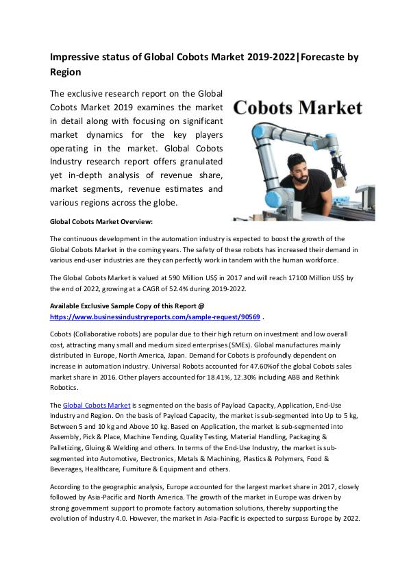 Global Cobots Market Research Report 2019