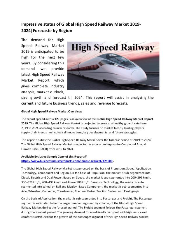 Global High Speed Railway Industry Market Research