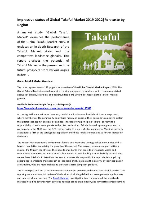 Market Research Reports Global Takaful Market Report 2019