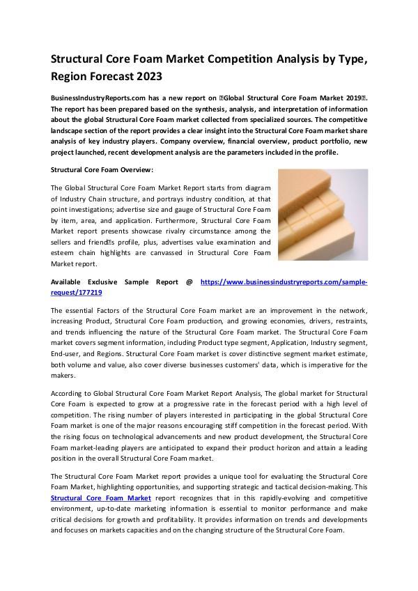 Structural Core Foam Market 2019