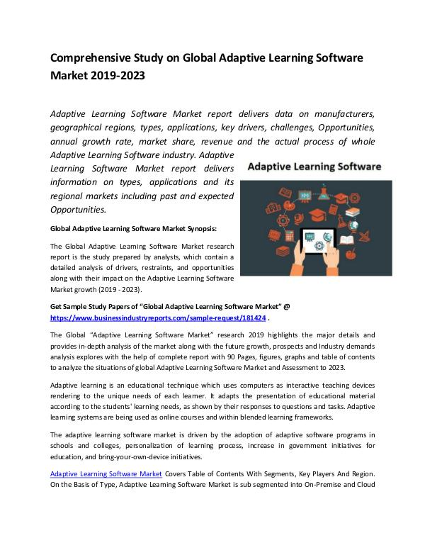 Market Research Reports Global Adaptive Learning Software Market Report 20