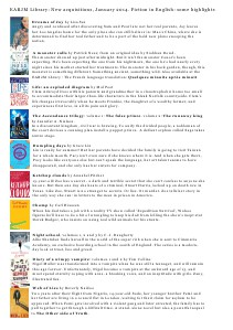 Library Newsletter New Acquisitions in English, January 2014