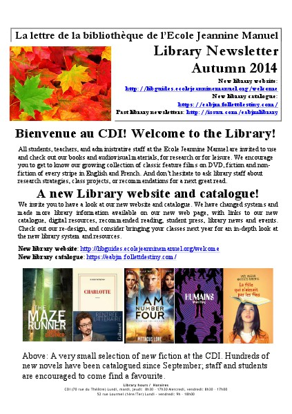 Ecole Jeannine Manuel Autumn Library Newsletter 2014