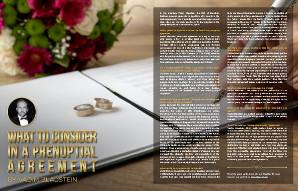 Vadim Blaustein on what to consider in a prenuptial agreement English