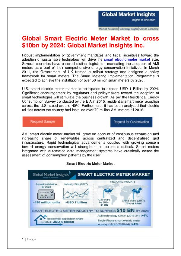Smart Electric Meter Market to cross $10bn by 2024 Smart Electric Meter Market