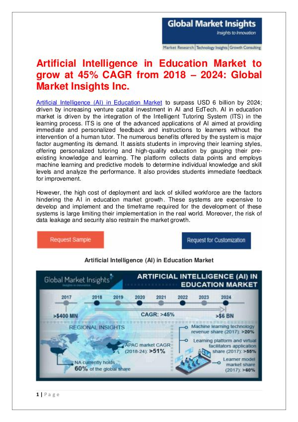 AI in Education Market to grow at 45% CAGR from 2018 – 2024 Artificial Intelligence (AI) in Education Market