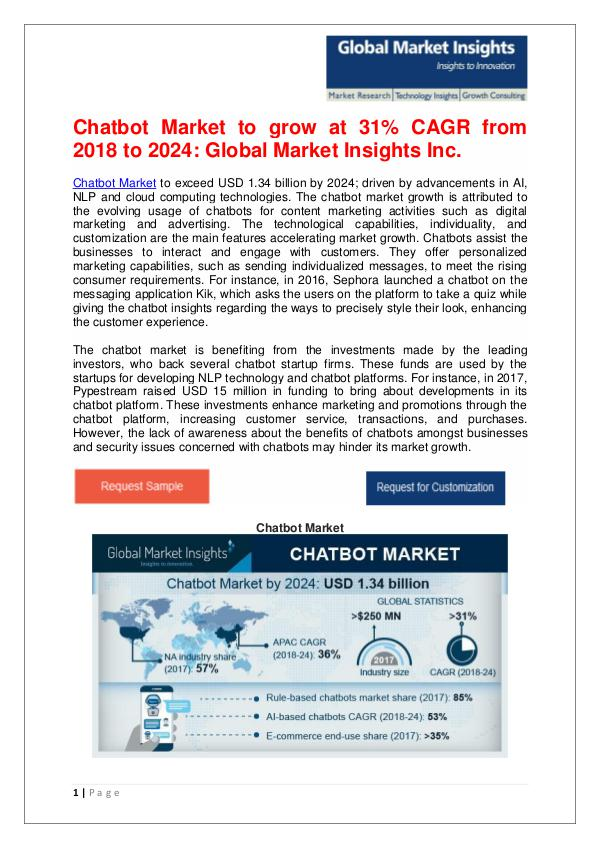 Chatbot Market to reach $1.34bn by 2024 Chatbot Market