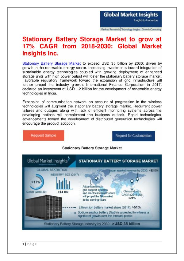 Stationary Battery Storage Market to grow at 17% CAGR from 2018-2030 Stationary Battery Storage Market