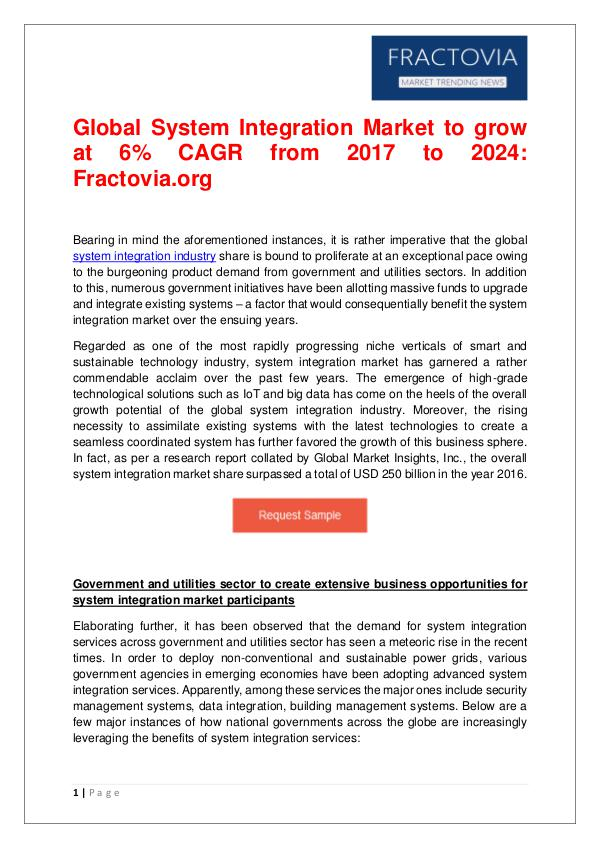 System Integration Market – Growth Opportunities and Challenges 2024 System Integration Market-Fractovia