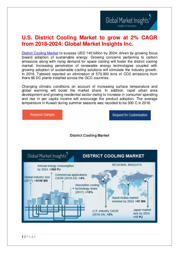 District Cooling Market to reach $140bn by 2024 District Cooling Market