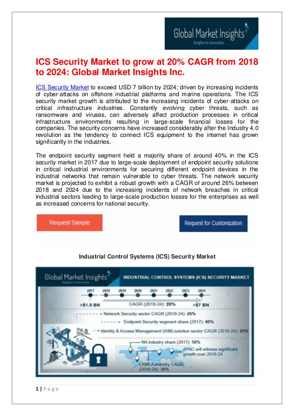 ICS Security Market to grow at 20% CAGR from 2018 to 2024 Industrial Control Systems (ICS) Security Market