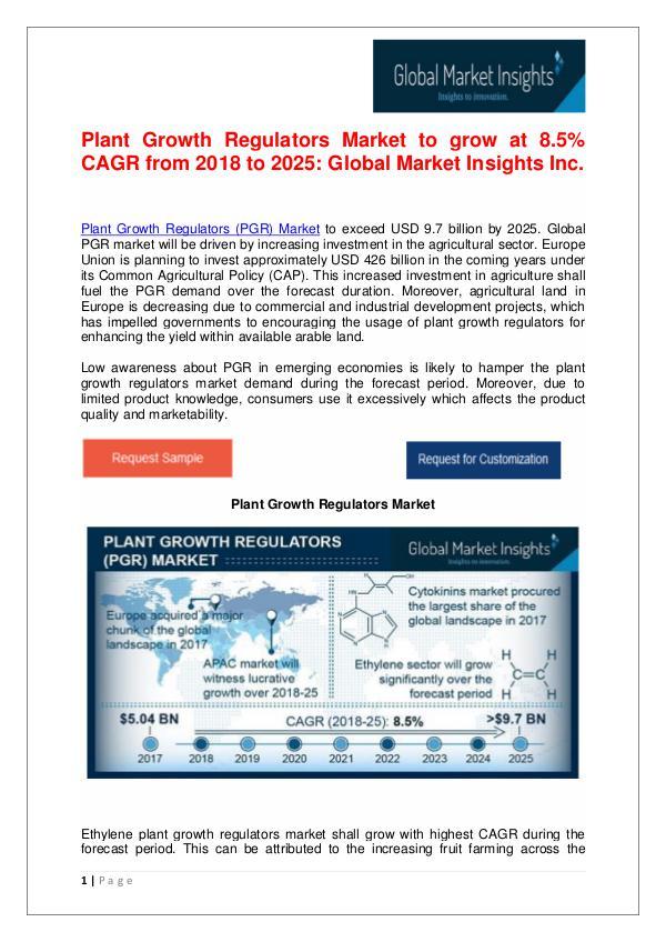 Plant Growth Regulators Market to reach US$ 9.7 bn by 2025 Plant Growth Regulators Market