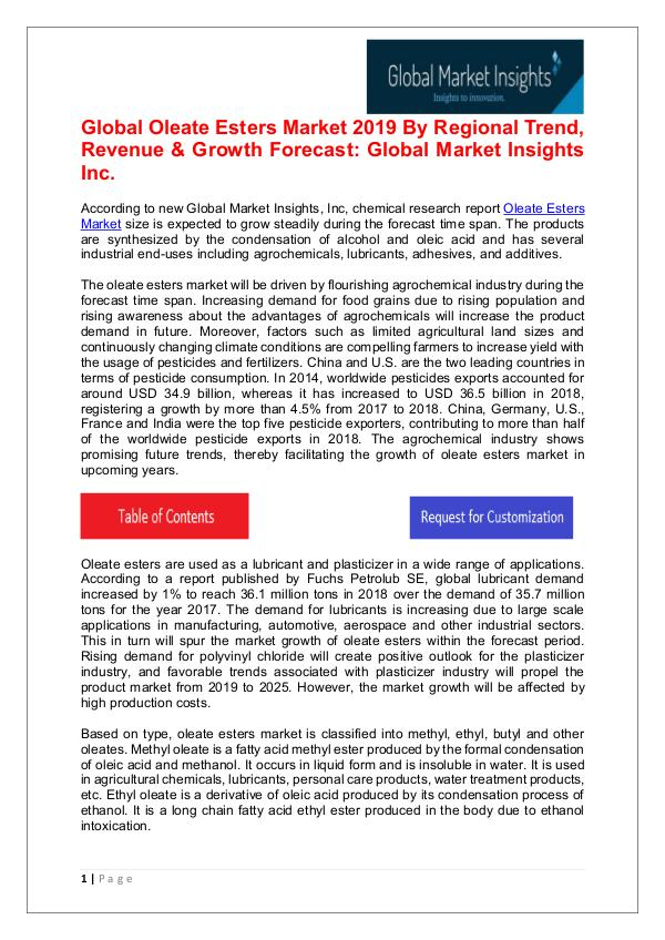 Oleate Esters Market - Share, Growth, Analysis, Forecast to 2025 Oleate Esters Market