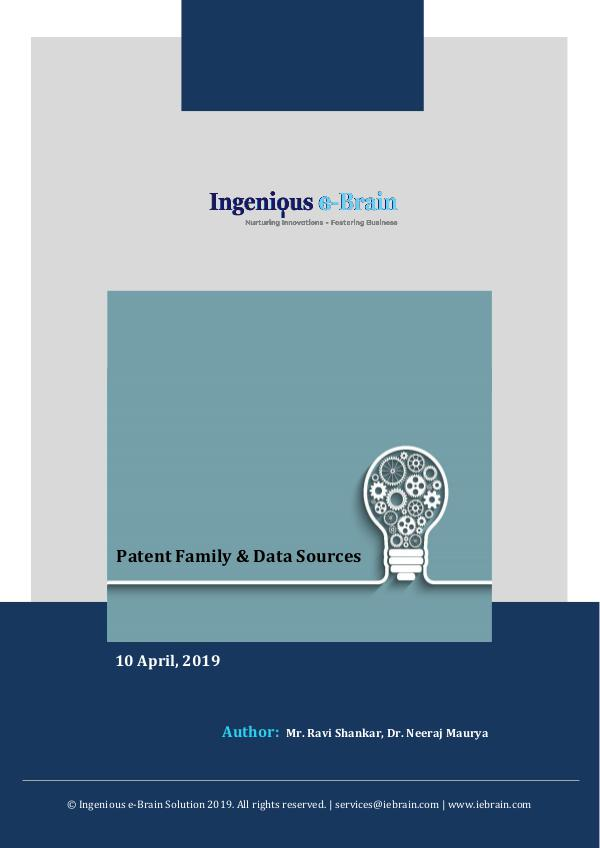 Data Sources and Patent Family Overview Patent family  Data Sources