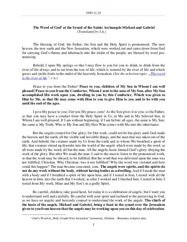 The Word of God in Romania 1993.11.21 - The Word of God at the Synod of the S