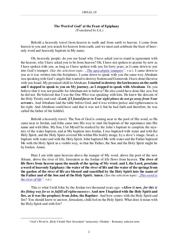 The Word of God in Romania 1995.01.19 - The Word of God at the Feast of Epiph