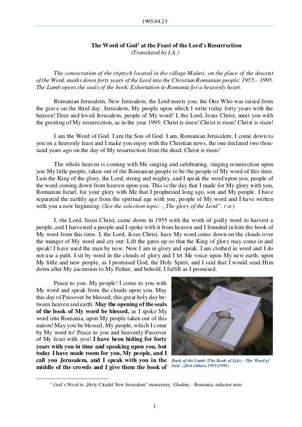 The Word of God in Romania 1995.04.23 - The Word of God at the Feast of the L