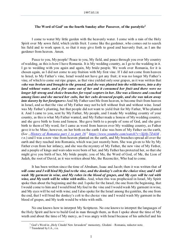 The Word of God in Romania 1997.05.18 - The Word of God on the fourth Sunday