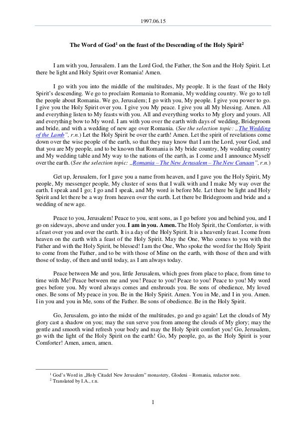 The Word of God in Romania 1997.06.15 - The Word of God on the feast of the d