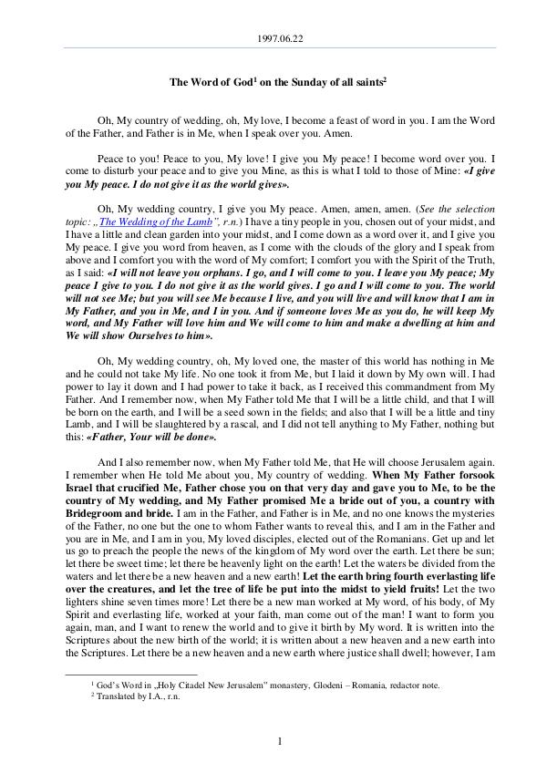 The Word of God in Romania 1997.06.22 - The Word of God on the Sunday of all