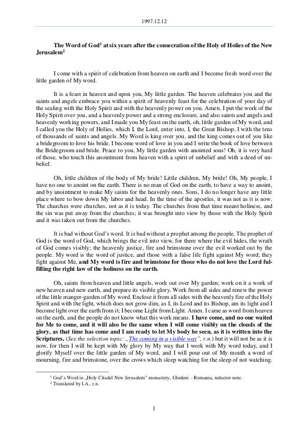 The Word of God in Romania 1997.12.12 - The Word of God six years after the c