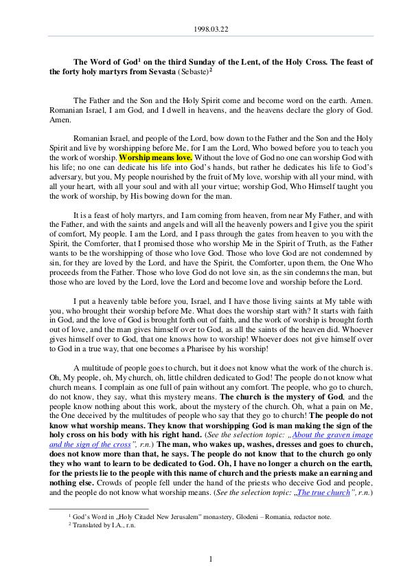 The Word of God in Romania 1998.03.22 - The Word of God on the third Sunday o