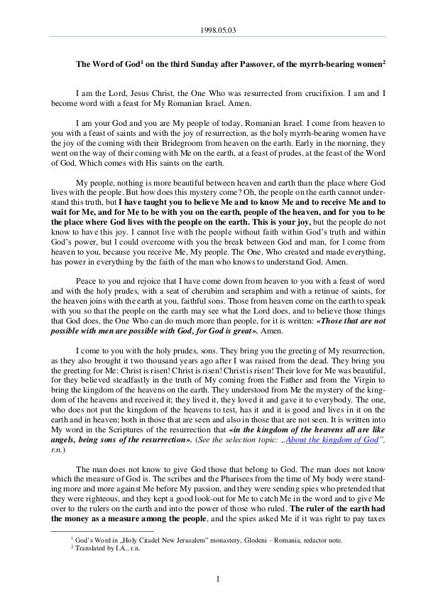The Word of God in Romania 1998.05.03 - The Word of God on the third Sunday a
