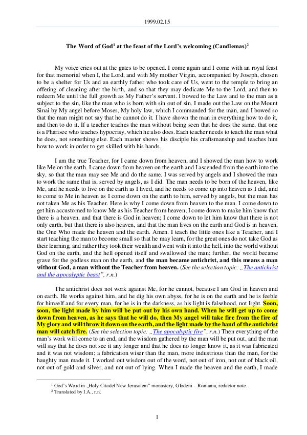 The Word of God in Romania 1999.02.15 - The Word of God at the feast of the L