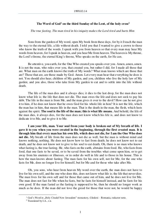 The Word of God in Romania 1999.03.14 - The Word of God on the third Sunday o