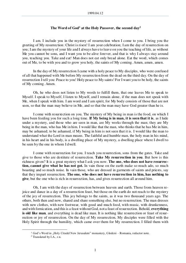 The Word of God in Romania 1999.04.12 - The Word of God at the Holy Passover,