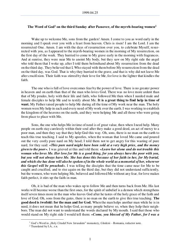 The Word of God in Romania 1999.04.25 - The Word of God on the third Sunday a