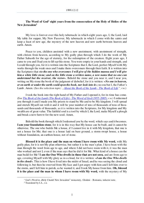 The Word of God in Romania 1999.12.12 - The Word of God eight years from the